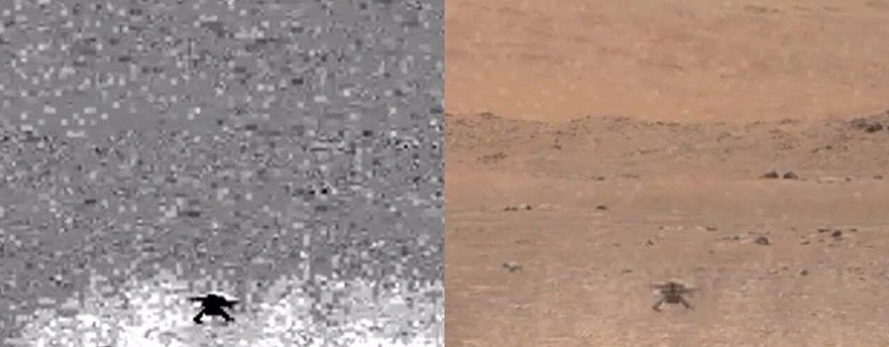 НАСА показа потоците марсиански прах по време на полета на дрона Ingenuity