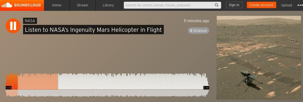 В деня на радиото НАСА публикува звука от полета на марсианския дрон