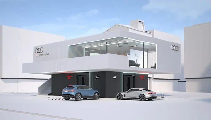 Audi създаде бърза зарядна станция с мощност 300 KW, в която се използват вече употребявани батерии за електромобили