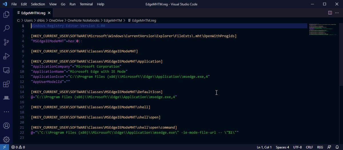 Редактиране на файла на системния регистър за поддръжка на Edge MHTML.