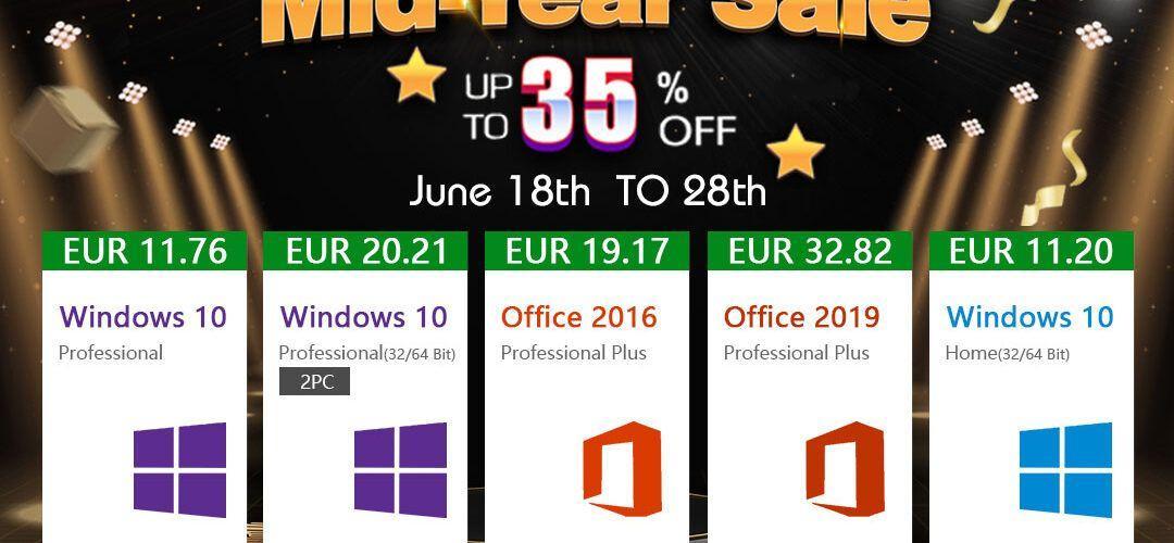 Голяма промоция на софтуерни продукти в средата на годината: Windows 10 Home само за €11,20