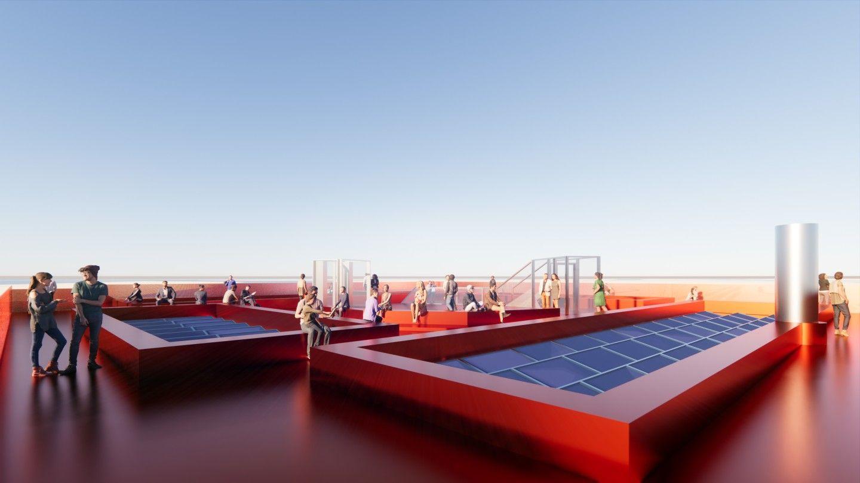 Необходимата електроенергия на Harbour Experience Centre ще се произвежда от 266 слънчеви панела, както и от вятърна турбина