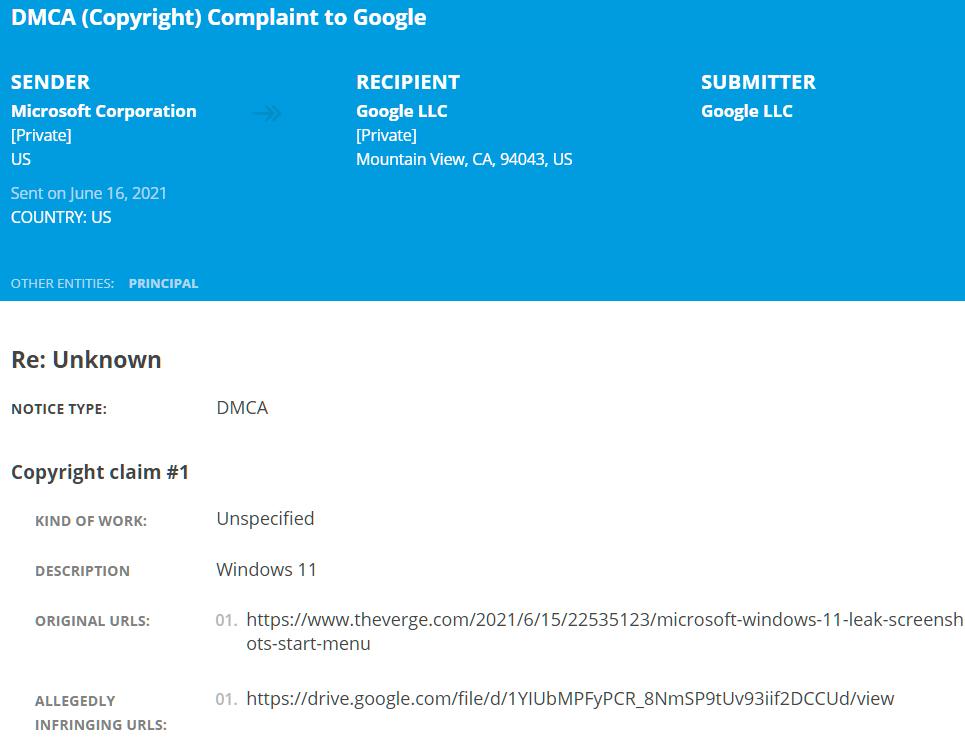 Windows 11 DMCA1