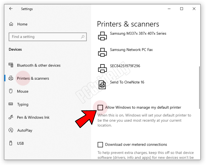 allow windows to manage my default printer