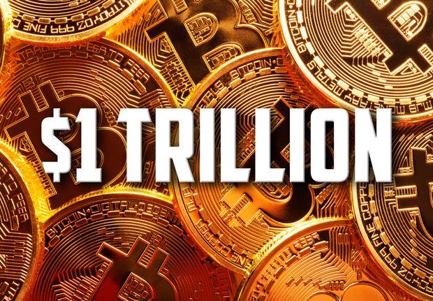 Курсът на биткойна прехвърли $55 хиляди и неговата пазарна капитализация вече е над $1 трилион