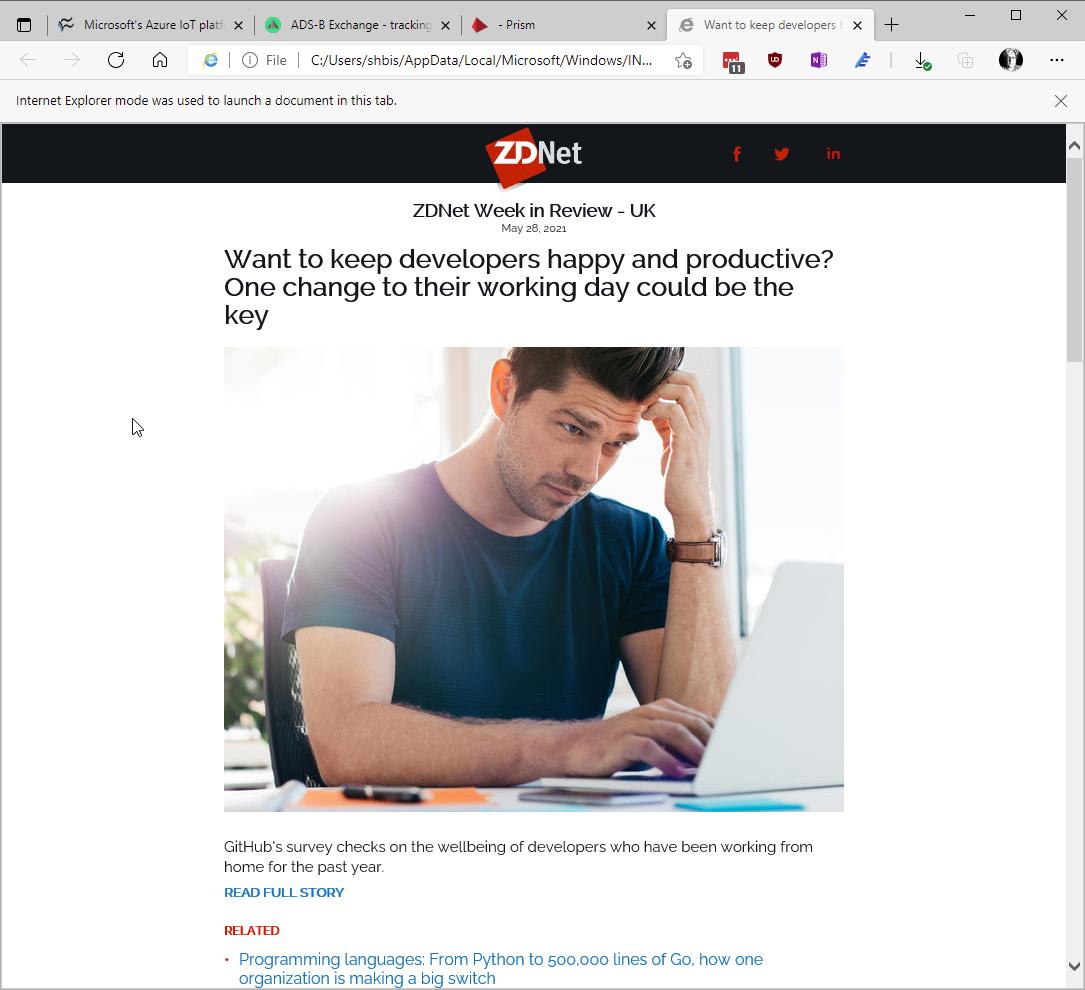 Бюлетин на ZDNet, отворен в IE режим на Edge