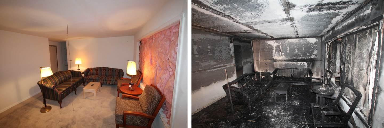 Преди и след снимки на интериора на тестовия дом, който умишлено е запален като част от експериментите на Underwriters Laboratories